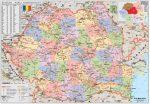 Románia politikai térképe (román nyelvű)-160*120 cm-laminált,faléces