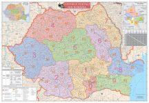 Románia irányítószámos falitérképe 100*70 cm - lécezett
