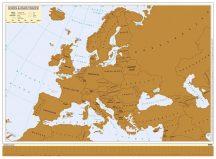 Kaparós Európa térkép  MAGYAR NYELVŰ - fémléces, arany színű