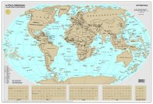 Kaparós világtérkép  MAGYAR NYELVŰ - fémléces, ezüst színű