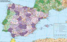 Spanyolország és Portugália irányítószámos falitérképe 140*100 cm - lécezett