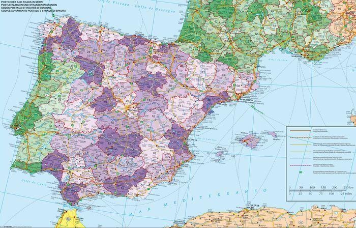 spanyolország domborzati térkép Spanyolország és Portugália irányítószámos falitérképe 140*100 cm  spanyolország domborzati térkép