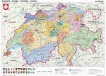 Svájc, politikai (német nyelvű)-160*120 cm-laminált,faléces