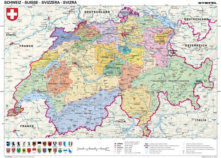 európa térkép svájc Svájc, politikai (német nyelvű) 160*120 cm laminált,faléces   A  európa térkép svájc