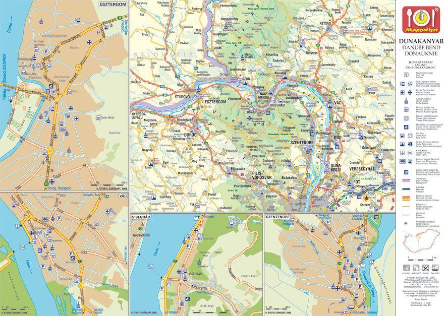 szentendre térkép részletes Szentendre képekben tányéralátét könyöklő + hátoldalon Dunakanyar