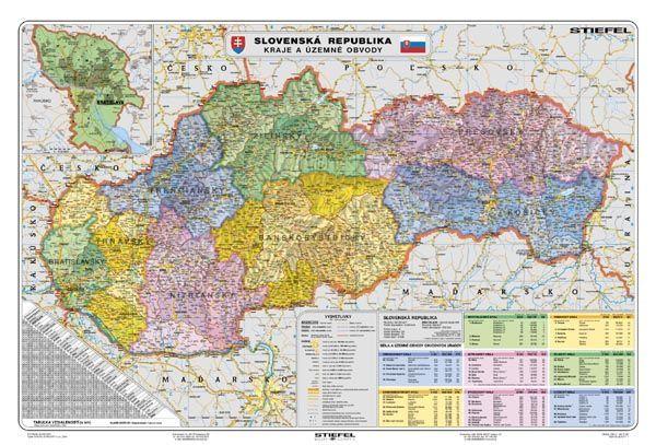térkép szlovákia magyarország Szlovákia, politikai (szlovák nyelvű) 140*100 cm laminált,faléces  térkép szlovákia magyarország