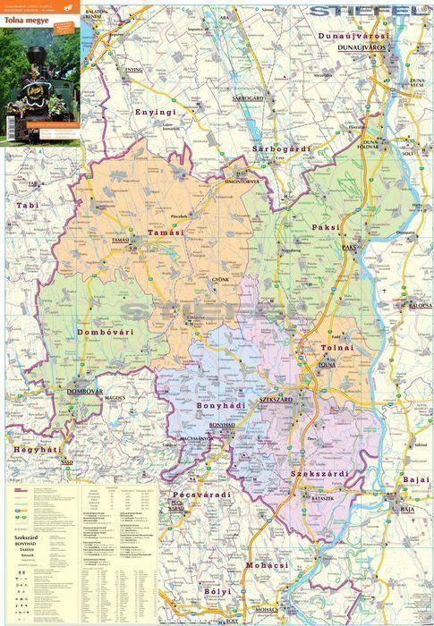 térkép tolna megye Tolna megye járásai hajtogatott térkép   A Lurdy Ház Térképbolt