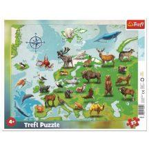 Európa térképe állatokkal - 25 darabos keretes puzzle