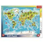 Világtérkép állatokkal - 25 darabos keretes puzzle