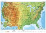 USA, domborzati + politikai DUO (angol)-160*120 cm-laminált,faléces