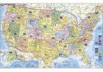 USA politikai és irányítószámos falitérképe 95*61 cm - fóliás