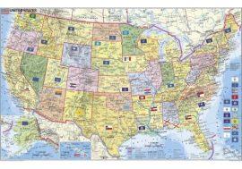 USA politikai és irányítószámos falitérképe 95*61 cm - fóliás, fémléces