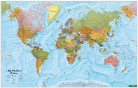 A Világ (The World) falitérkép XXL 202*130 cm - tűzdelhető keretezett