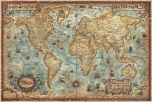 A Világ (The World) falitérkép 136*92 cm antik színű hajókkal - térképtűvel szúrható, keretezett