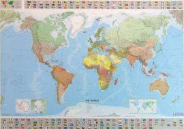 A Világ (The World) falitérkép 144*100 cm - tűzdelhető keretezett