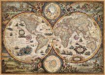 Aktuális világtérkép Vintage stílusban 136*96 cm - térképtűvel szúrható, keretezett